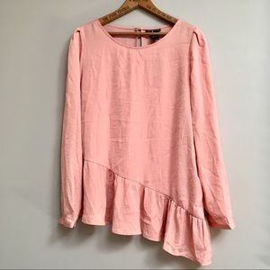 Chelsea & Theodore peach colored peplum blouse